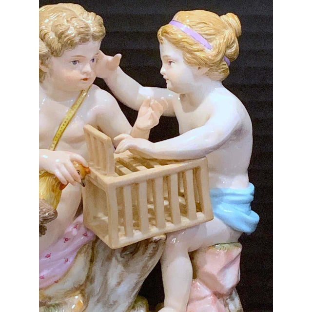 19th century Meissen grouping of two boys with rooster and cage, remarkable condition, all fingers and toes intact no...
