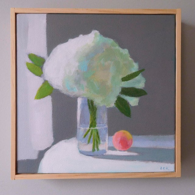 """2010s """"White Hydrangea With a Peach"""" Painting by Anne Carrozza Remick For Sale - Image 5 of 6"""