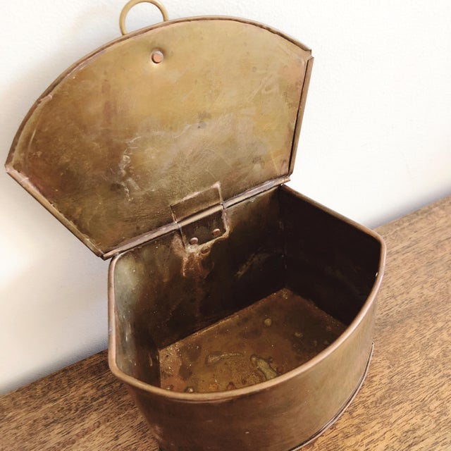 Boho Chic 1960s Hanging Brass Planter / Mail Bin For Sale - Image 3 of 8