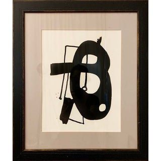 Contemporary Abstract Black and White Ink Painting, Framed For Sale