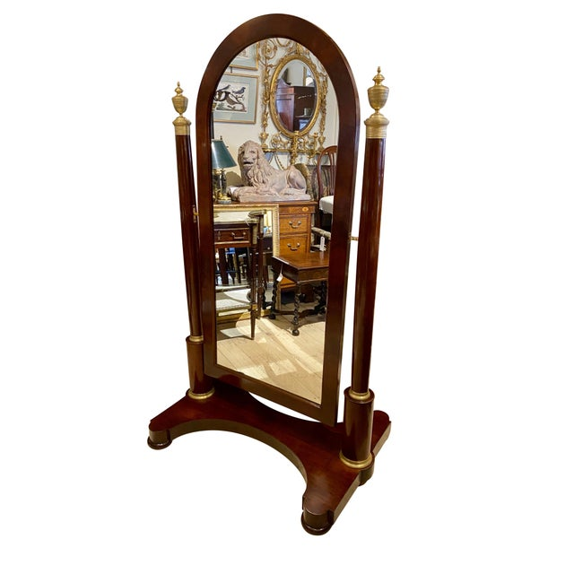 French Restauration Mahogany and Bronze Mounted Cheval Mirror For Sale - Image 11 of 13