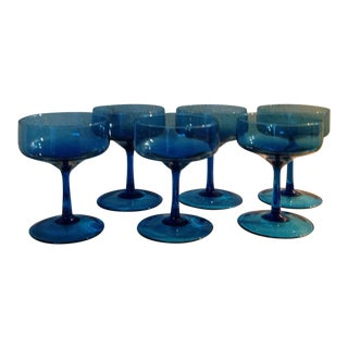 1960s Turquoise Champagne Glasses - Set of 6 For Sale