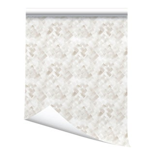 """Victoria Larson Crosshatch Wallpaper - Oyster - 24x198"""" For Sale"""