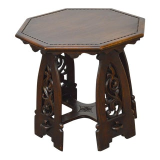 Antique Gothic Oak Rose Valley Inspired Octagon Carved Taboret Side Table