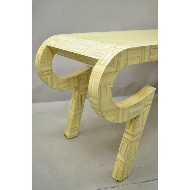 Mid-Century Modern Allesandro Baker Karl Springer Style Cream Console Table For Sale - Image 3 of 13