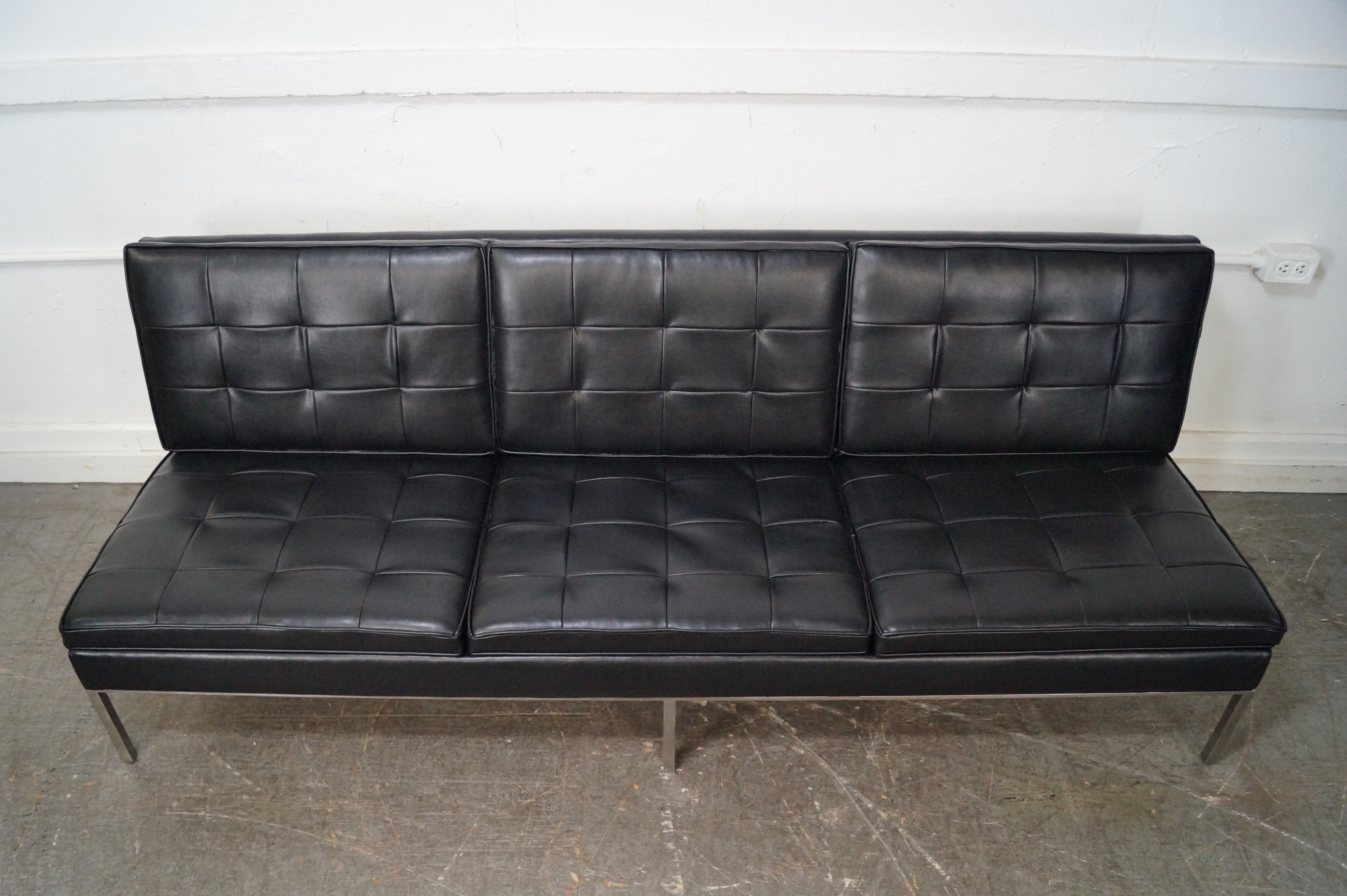 Florence Knoll Midcentury Black Leather Armless Sofa Image Of With