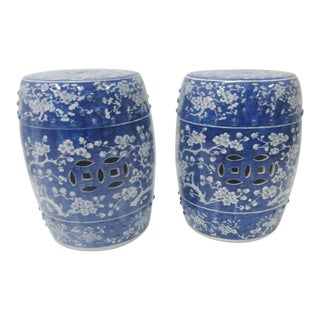 Chinese Blue & White Floral Garden Stools - a Pair For Sale