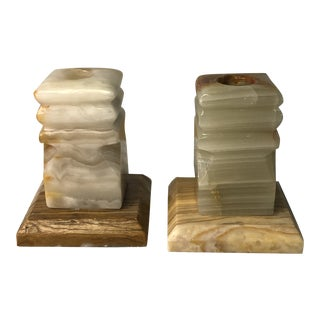 Vintage 1970s Marble Candle Stick Holders - a Pair For Sale