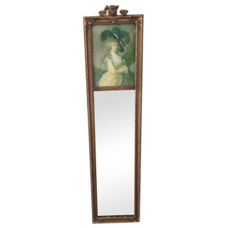 Trumeau Mirror with 18th Century Woman For Sale