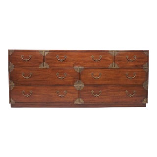 Asian Inspired Seven-Drawer Campaign Chest of Drawers, Circa 1970s For Sale