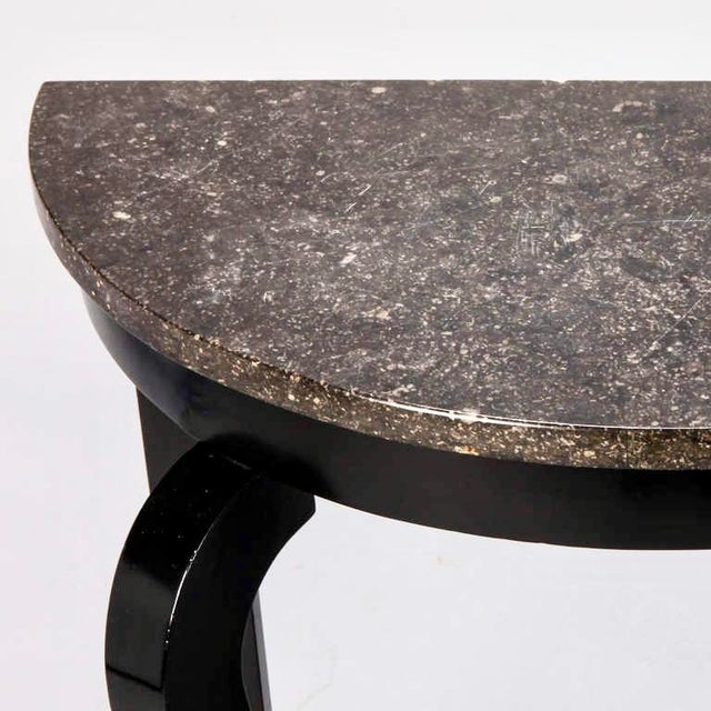French Demi Lune Ebonised Console with Marble Top - Image 5 of 8