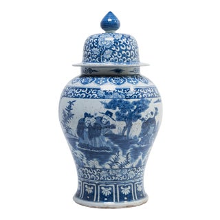 Blue and White Ginger Jar With Landscape Portraits For Sale