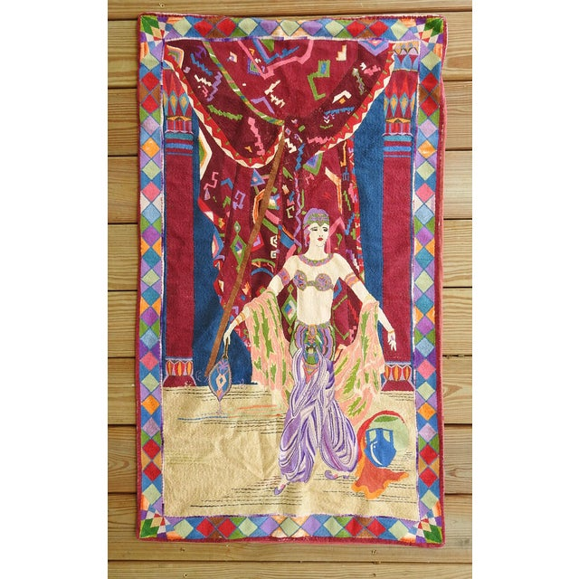 Art Deco Embroidered Tapestry Exotic Dancer For Sale - Image 4 of 4