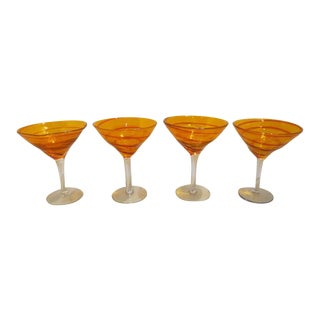 Vintage 1970s Mid-Century Modern Hand Blown Orange Martini Stems - Set of 4 For Sale