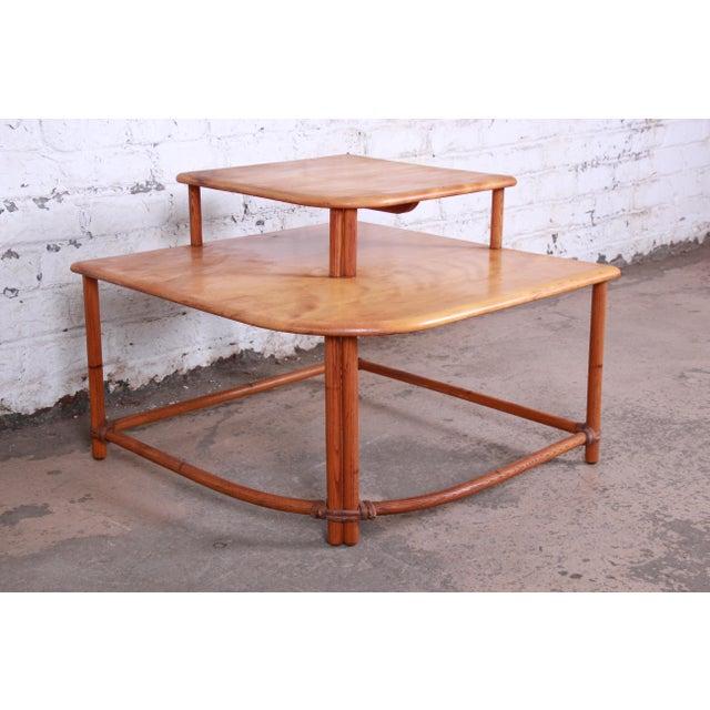 Heywood-Wakefield Heywood Wakefield Mid-Century Modern Rattan Corner End Table For Sale - Image 4 of 10