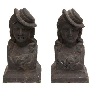 Andiron French Chenets, Ladies - Pair For Sale