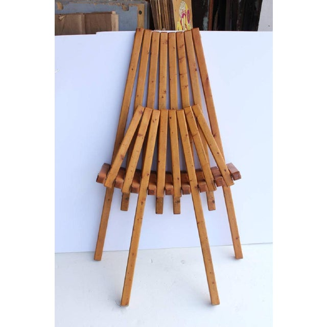Mid-Century Modern Mid-Century Vintage Wood Folding Lounge Chair For Sale - Image 3 of 4