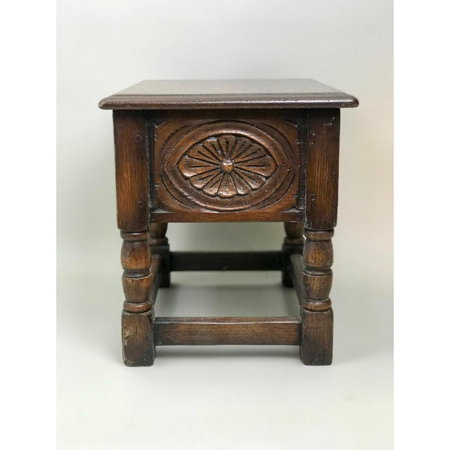 Traditional 19th Century Traditional Oak Joint Stool/ Bible Box For Sale - Image 3 of 8