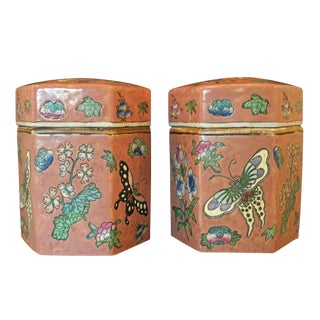 Vintage Peach Bloom Glaze Lepidopterical Motif Ginger Jars - a Pair For Sale