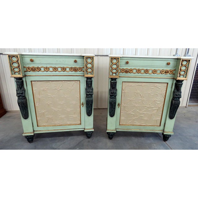 Pair of Marble Top Empire Style Commodes For Sale - Image 10 of 10