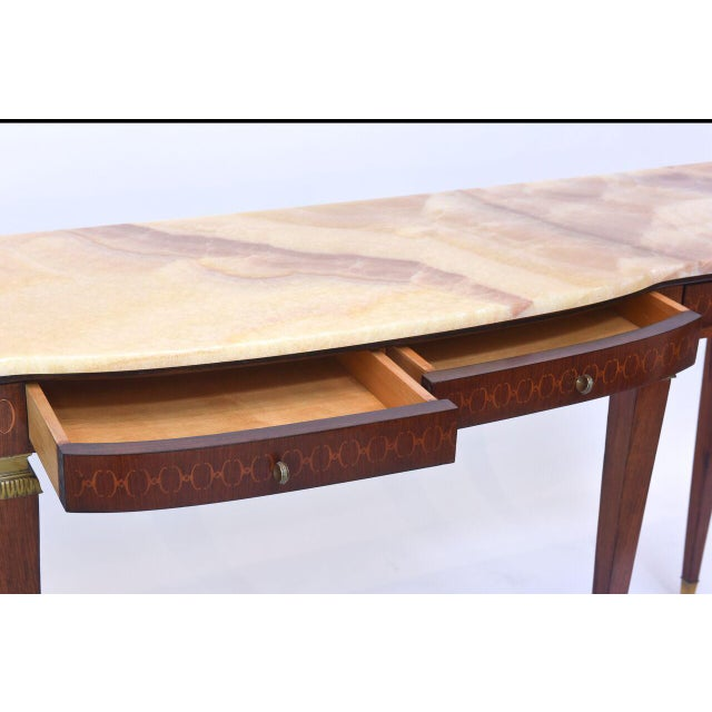 Bronze Pair of Italian Modern Walnut and Fruitwood Marquetry Inlaid Onyx Top Consoles For Sale - Image 7 of 9