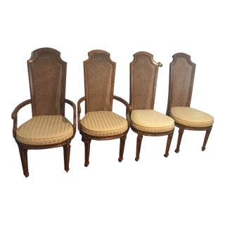 American of Martinsville Cane Back Dining Chairs - Set of 4 For Sale