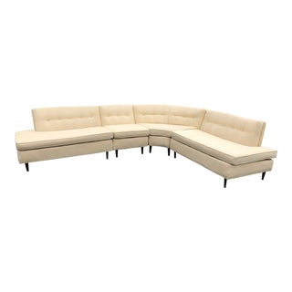 1950s Mid Century Modern Ivory Sectional Sofa - 4 Pieces For Sale