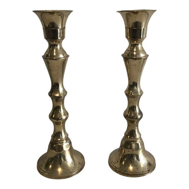 Early 20th Century Brass Candlesticks - a Pair For Sale