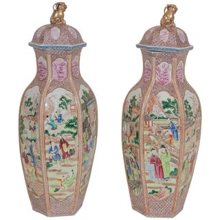 Large Chinese Export Covered Vases - a Pair For Sale