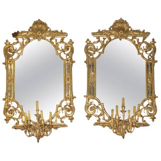 Pair of Italian Baroque Style Carved Giltwood Girandole Mirrors For Sale