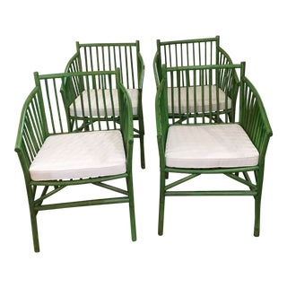 Modern Bamboo Wide Seat Chairs- Set of 4 For Sale
