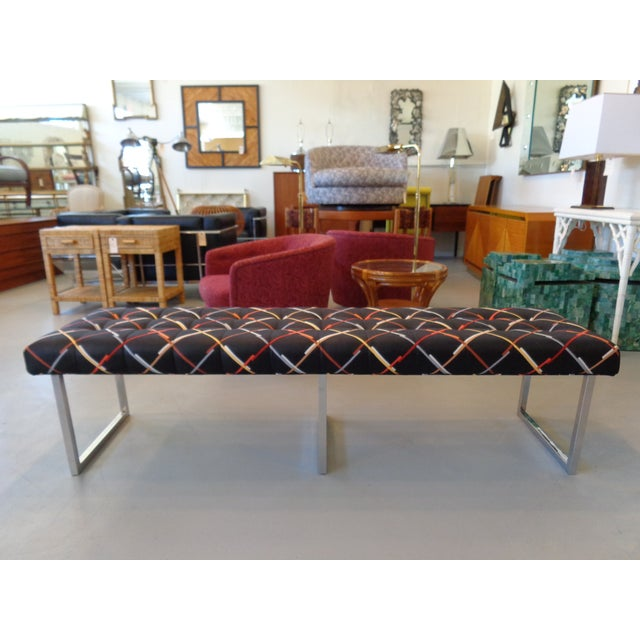 Long Chrome Bench - Image 2 of 6