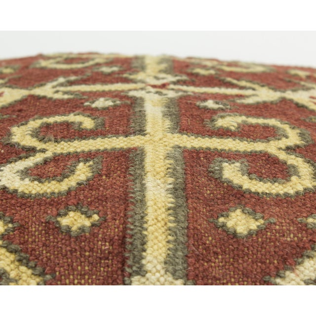 Cotton Brown and Tan Wool Textile Kilim Pillow For Sale - Image 7 of 9