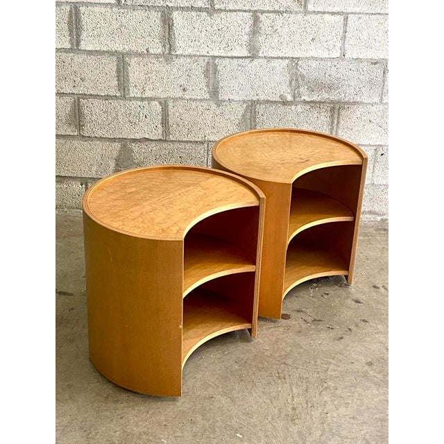 Metal Vintage Mid-Century Modern Michael Taylor for Baker Curved Nightstands - a Pair For Sale - Image 7 of 9