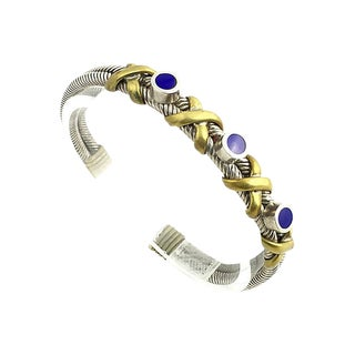 Sterling, Brass & Enamel Bracelet For Sale
