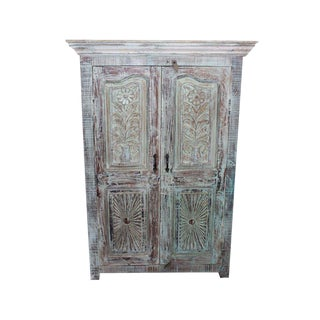 1920s Rustic Accent Distressed Blue Floral Cabinet For Sale