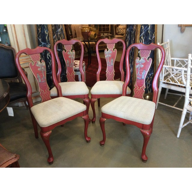 Red Chinoiserie Dining Chair - Set of 4 For Sale - Image 13 of 13