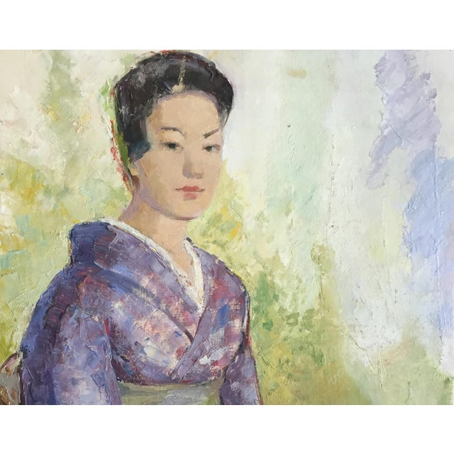 Asian 1950's Oil Painting Japanese Woman With Fan For Sale - Image 3 of 9