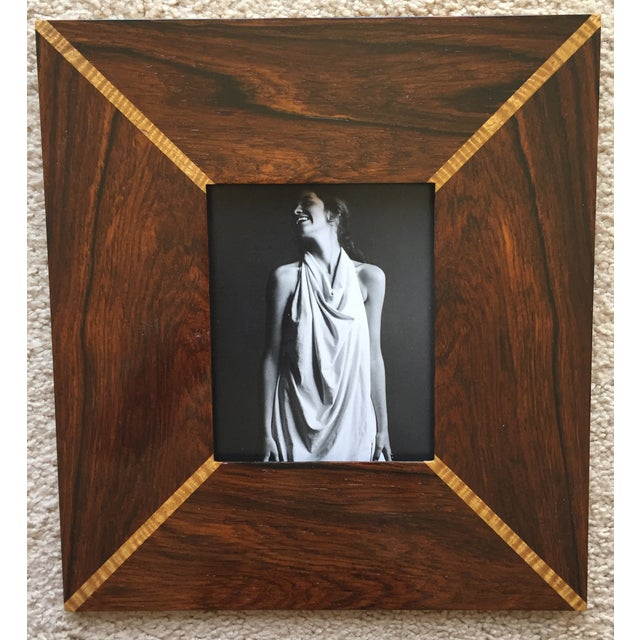 Custom Handmade Exotic Wood Inlaid Frame - Image 3 of 5