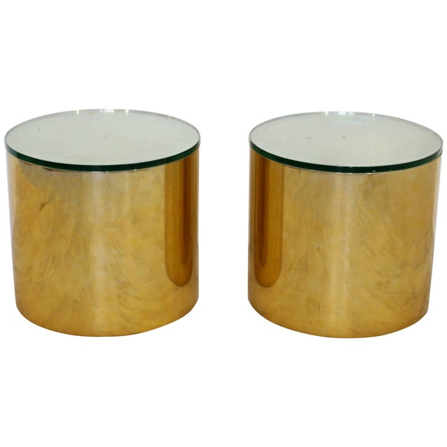 Mid-Century Modern Pair of Brass Round Drum Side Tables Paul Mayen Habitat For Sale - Image 11 of 11