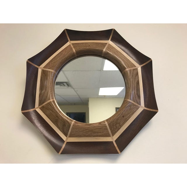 Custom oak and walnut with maple inlay mirror. The mirror listed is currently available.
