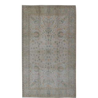 Keivan Woven Arts,TU-Vey-46011, Neutral Vintage Turkish Oushak Rug- 6′ × 9′10″ For Sale