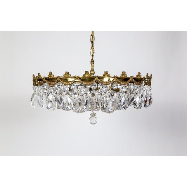 Wide Shallow Crystal Basket Chandelier With Brass Garland For Sale - Image 11 of 11