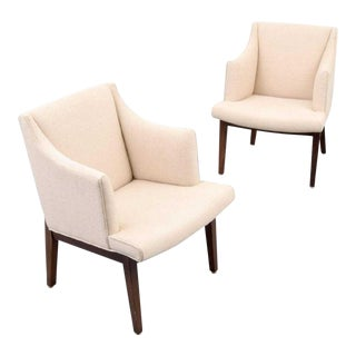 Edward Wormley Bracket Back Arm Chairs - a Pair For Sale