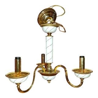 Vintage F. Fabbian Italian Brass & Enamel Three Arm Chandelier For Sale