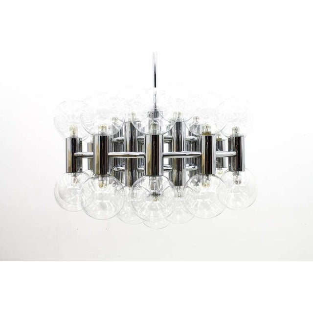 Large Chrome and Glass Chandelier by Motoko Ishii for Staff, 1971 For Sale - Image 9 of 9