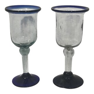 1960s Vintage Hand Blown Mexican Goblets With Cobalt Blue Trim - a Pair For Sale
