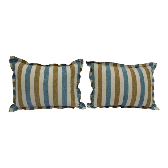 Contemporary Striped Silk DownContemporary Striped Silk Down Pillows - a Pair For Sale - Image 13 of 13