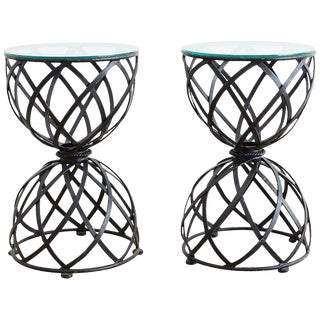 Pair of Woven Iron Basket Design Drinks Tables For Sale