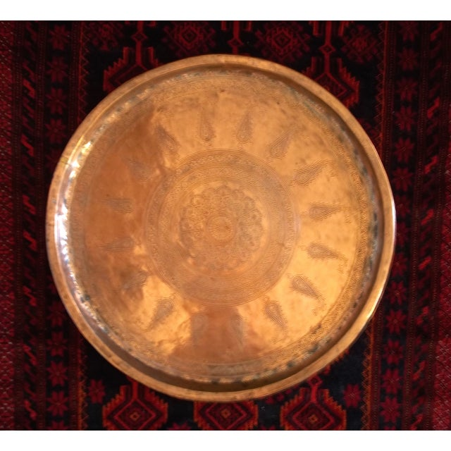 """Antique Hand Chased Persian Copper Tray 26.5"""" - Image 6 of 6"""